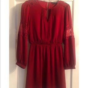 Express red long sleeve dress